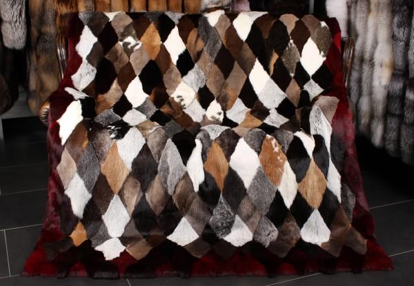 Rabbit Fur Blanket Patchwork Design