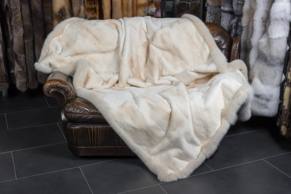 Sheared Mink Fur Blanket with Bluefox Frame