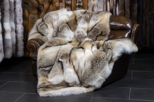 "Canadian Coyote Fur Throw - ""Top Lot Award"""