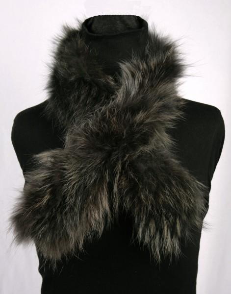 Raccoon Fur Scarf in Green