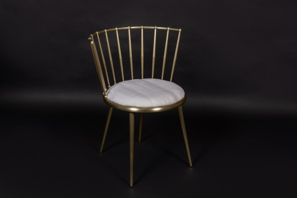 Elegant White Golden Chair with Plucked Mink