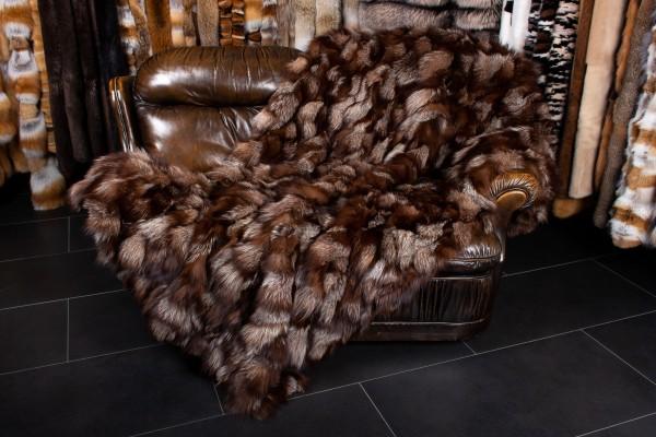 Fox Fur Throw in Maroon Brown