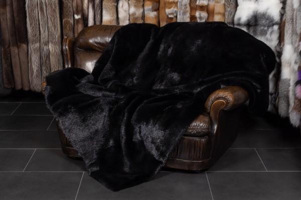 Canadian Beaver Fur Blanket in black