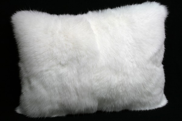 White fur pillow made from long haired rabbit furs