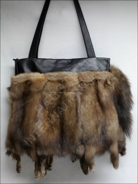 Stylish sable fur handbag made of authentic Barguzin sable