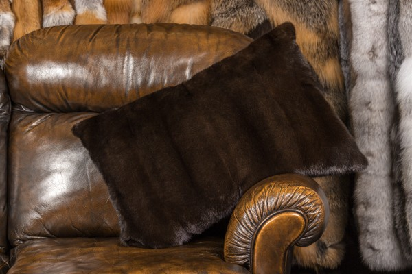 Mink Fur Cushion plucked Mink backing