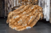 Canadian red fox fur blanket - classic style