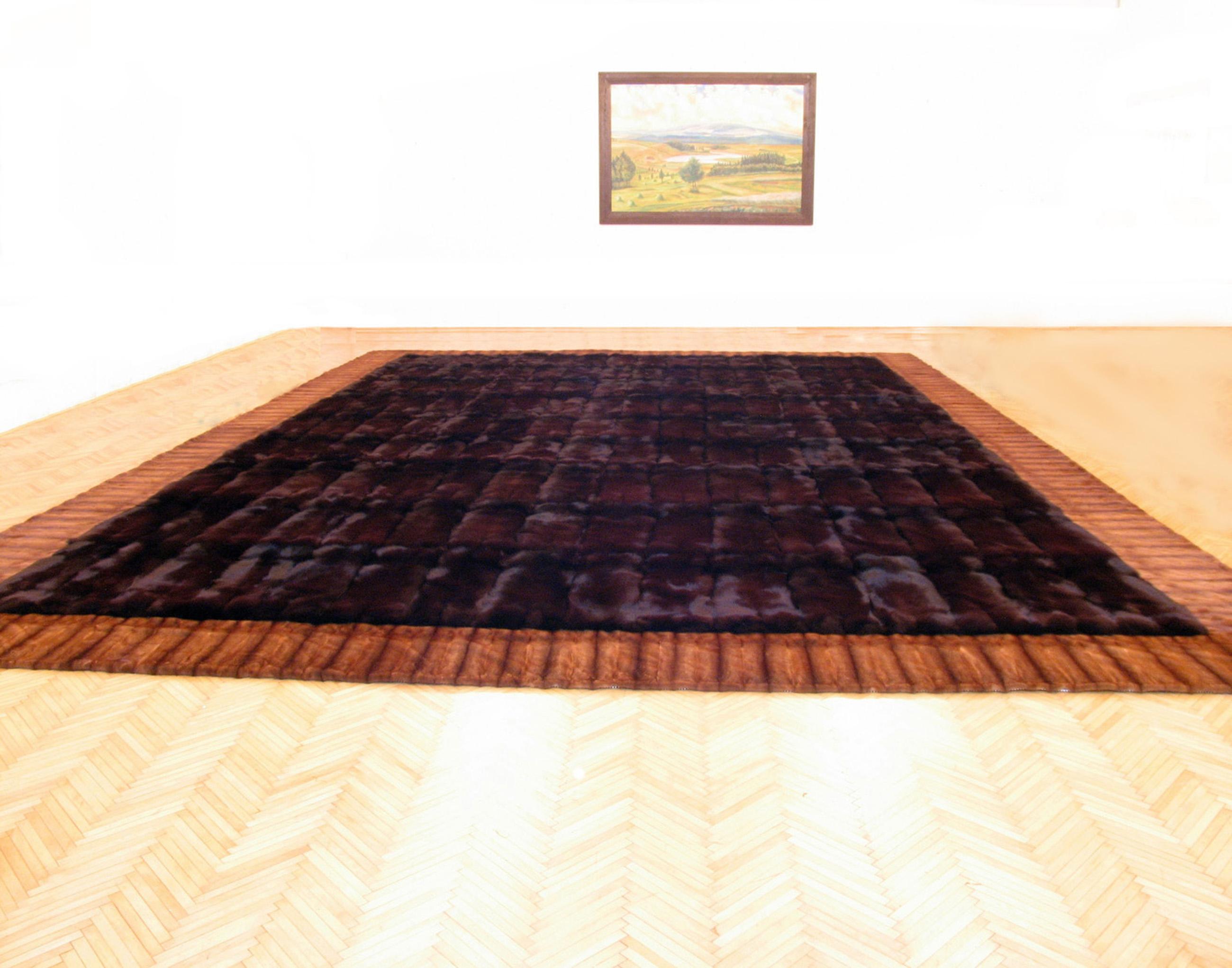 Blue Fox Fur Carpet with Mink Border