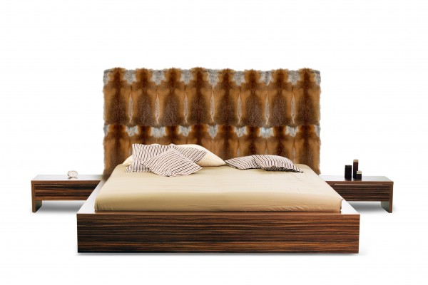 Bed Headboard with European Red Fox Fur