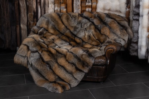 Golden Cross Fox Fur Blanket - Dark Type