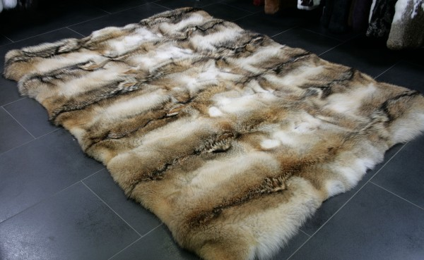 Rustic fur carpet from northamerican coyote skins