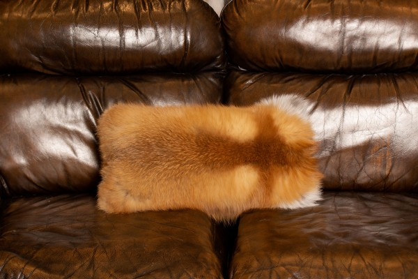 Canadian Red Fox Fur Pillow - Double Sided Real Fur