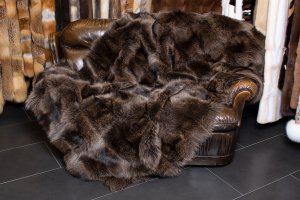 Cozy Real Fur Blanket made with Canadian Raccoon Fur