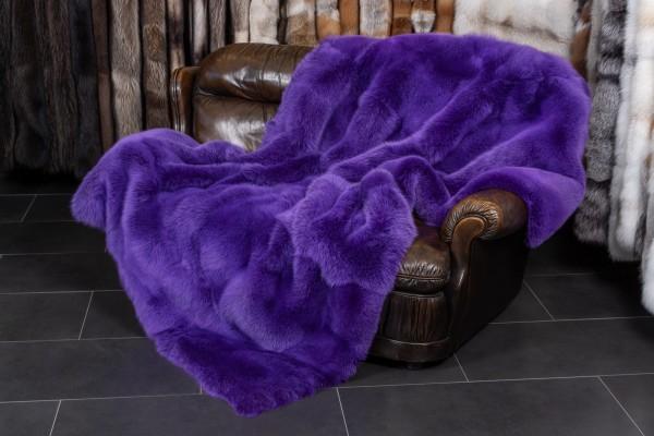 Real Fur Blue Fox Blanket in Purple