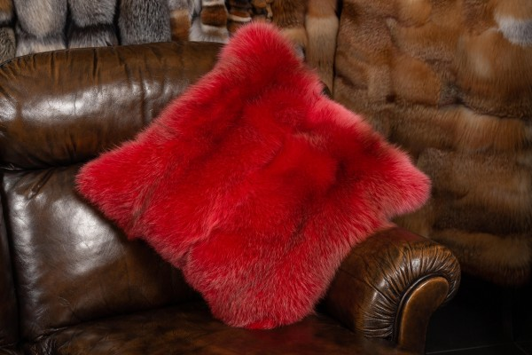 European Red Fox Fur Pillow Real Fur