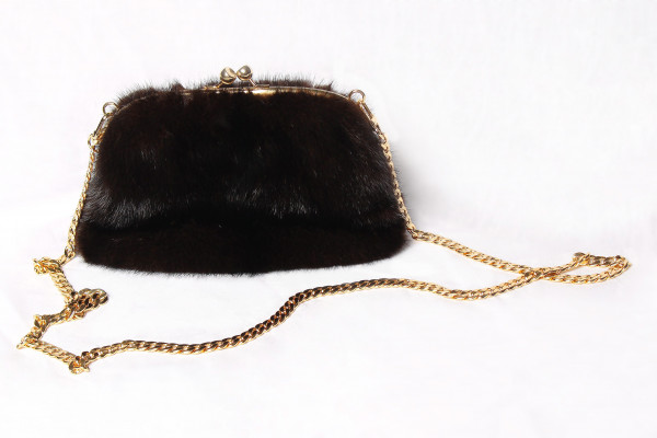Brown Mink Muff With Golden Chains