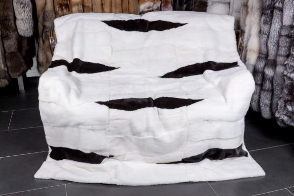 "Mink Fur Blanket in Black & White ""Flames"""