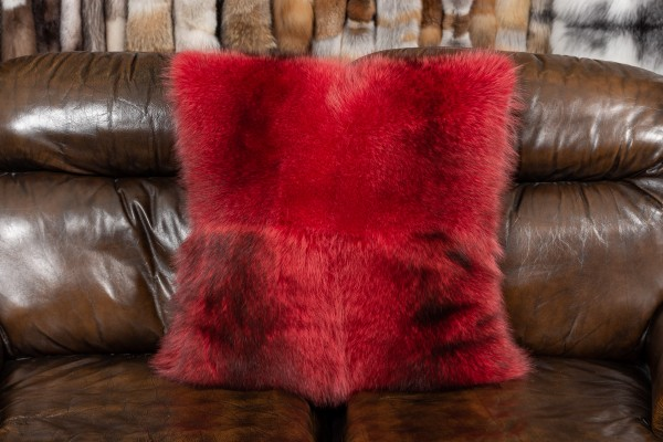 Canadian Raccoon Fur Cushion in Red