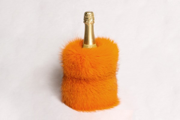 Orange Red Fox Wine Chiller - Genuine Fur