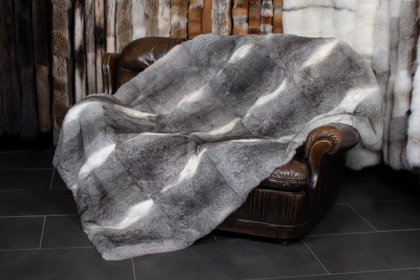 "Rabbit Fur Throw ""Chinchilla Style"""