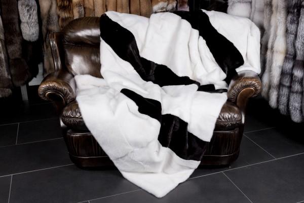Real Fur Mink Blanket - Ellipse-shaped Mink stripes
