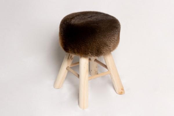 Taburete rústico de madera de piel auténtica - Pieles de castor canadiense