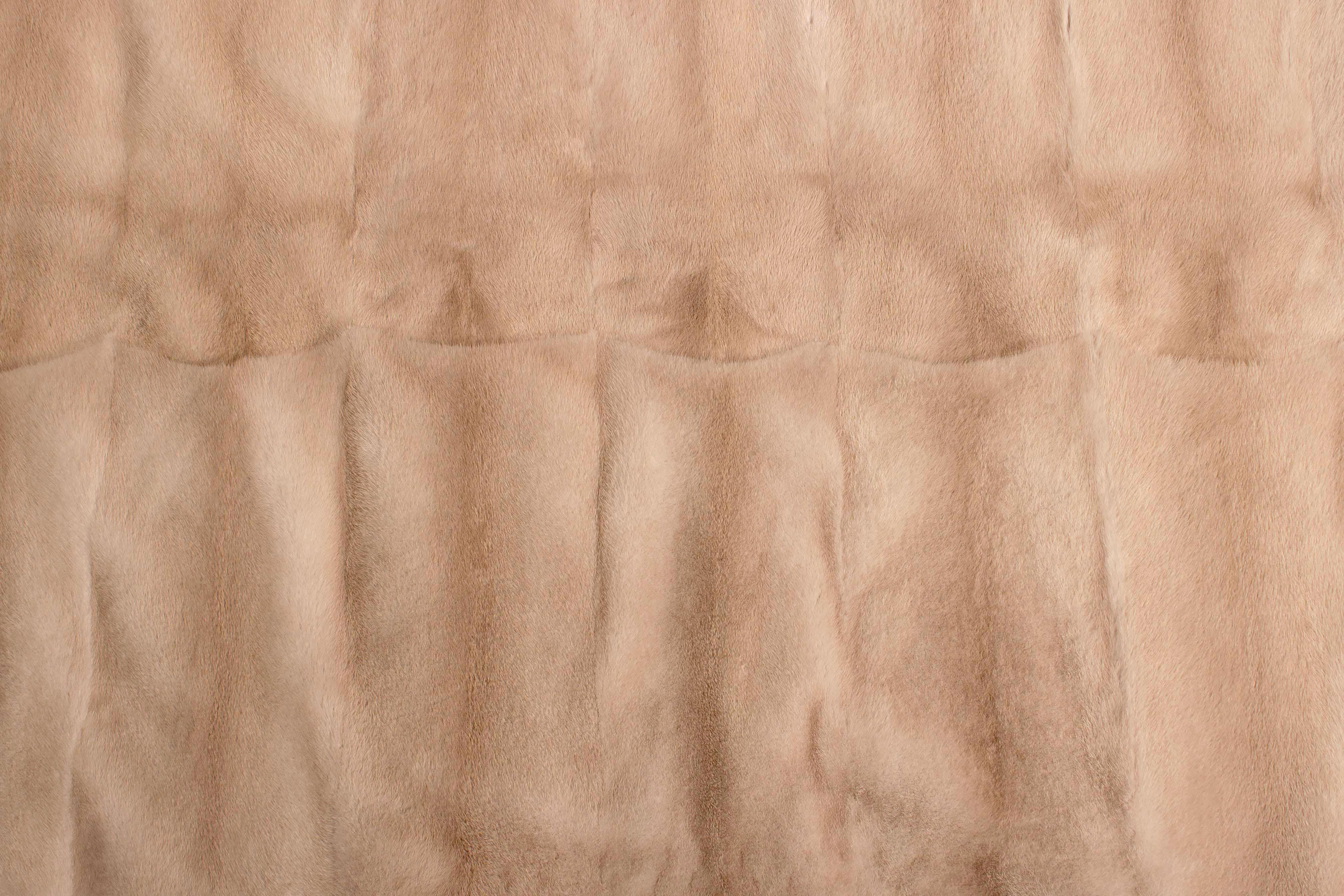 Real Mink Fur Carpet Made Of Pastel Mink Fur
