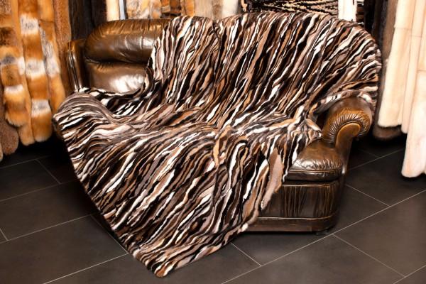 Real Mink Fur Patchwork Blanket