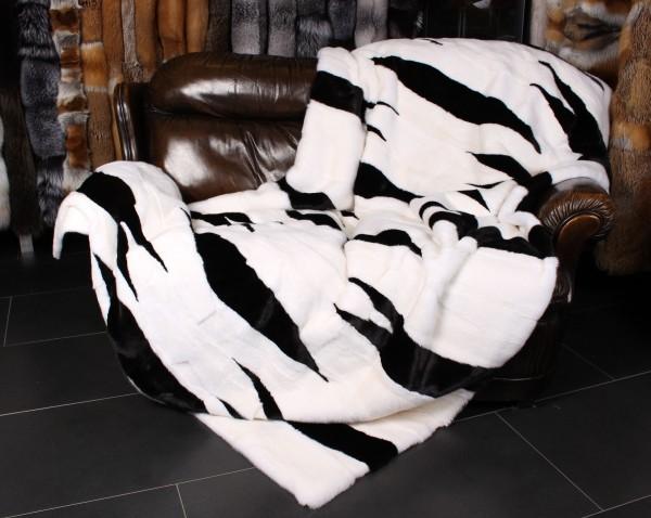 Black & White Mink Fur Blanket (Kopenhagen Fur)
