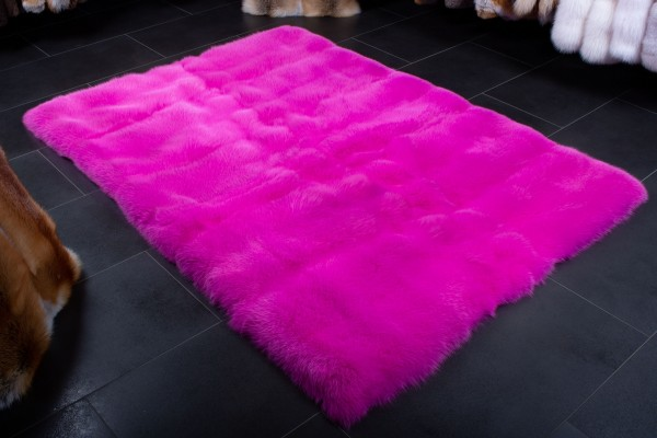 Pink Shadow Fox Fur Carpet