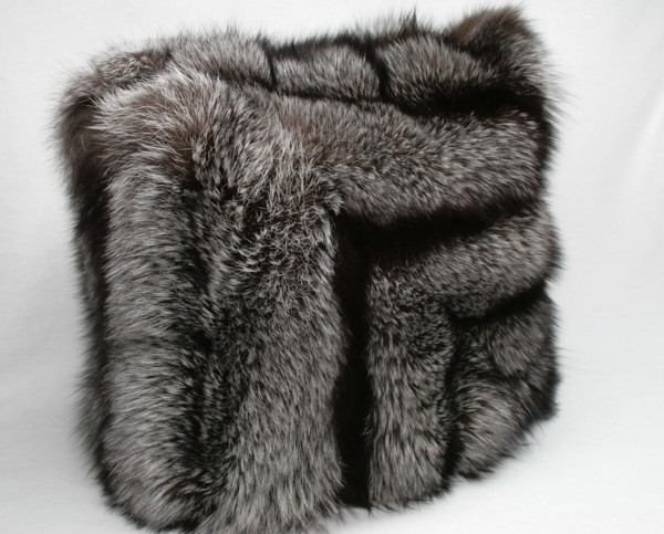 Silver fox fur pillow with - SAGA