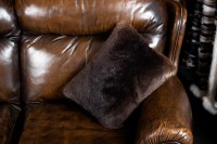 Double Sided Beaver Fur Pillow Natural Color