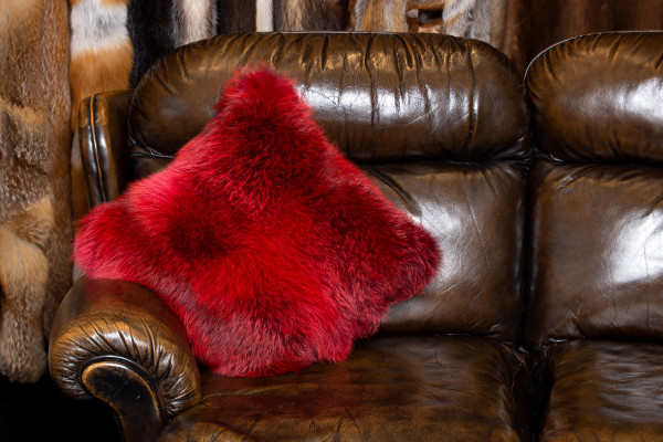Genuine Red Fox Fur Cushion - Dark Type