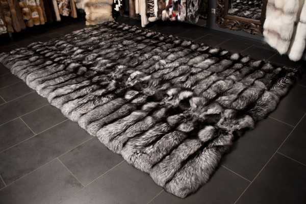 Silver Fox Fur Carpet made with Genuine Scandinavian Fox Fur