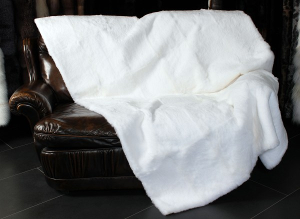 White, trimmed Rabbit Fur Blanket