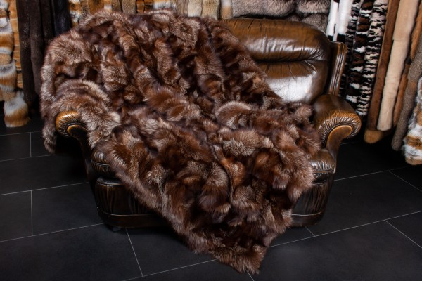 Silver Fox Pieces Blanket in Chocolate Brown