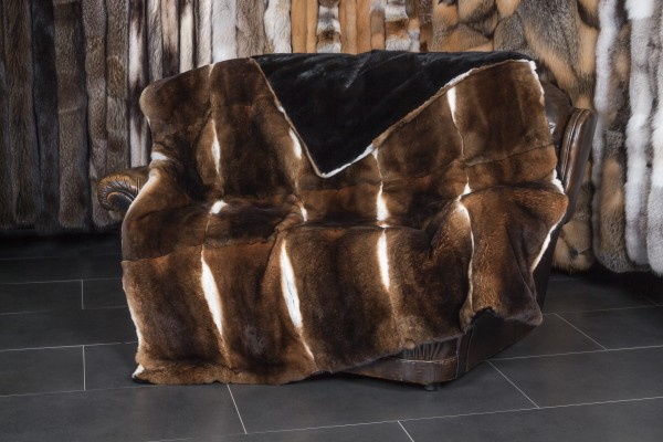 Castor Rex Rabbit Fur Throw with black Mink Lining