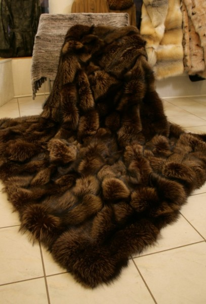 Saga Silver Fox Fur Blanket - brown