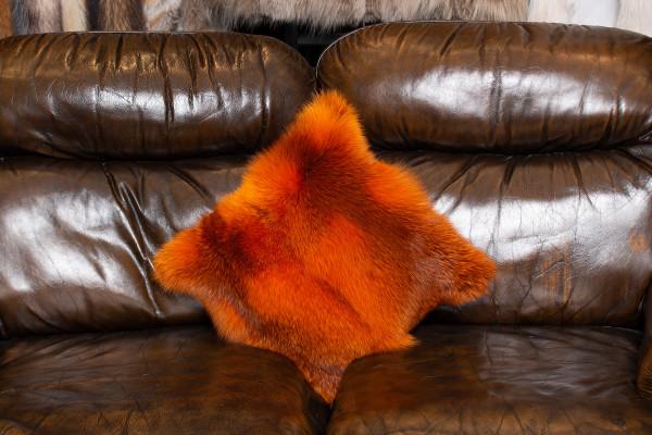 Special Red Fox Fur Cushion in Orange