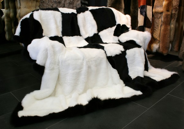 Rabbit Fur Blanket with fox trim
