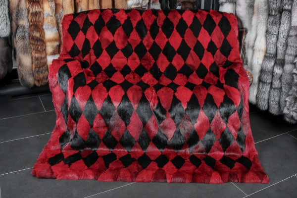 Rabbit Fur Blanket Red & Black