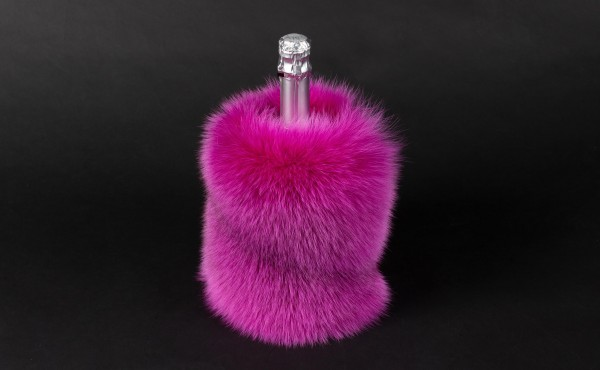 Wine Bottle Chiller made with pink Bluefox