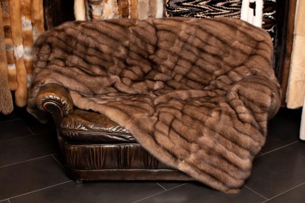 Tortora Sable Fur Throw with Kolinsky Lining
