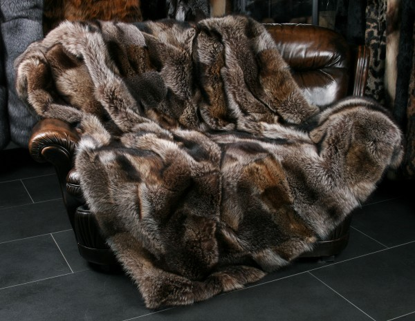 Raccoon Patchwork Fur Blanket