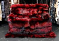 Lujosa manta de piel de zorro plateado - rojo ferrari