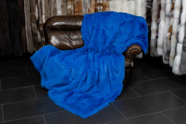Royal Blue Rabbit Fur Throw