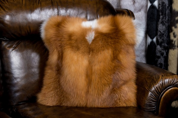 Fur pillow made of Canadian red fox
