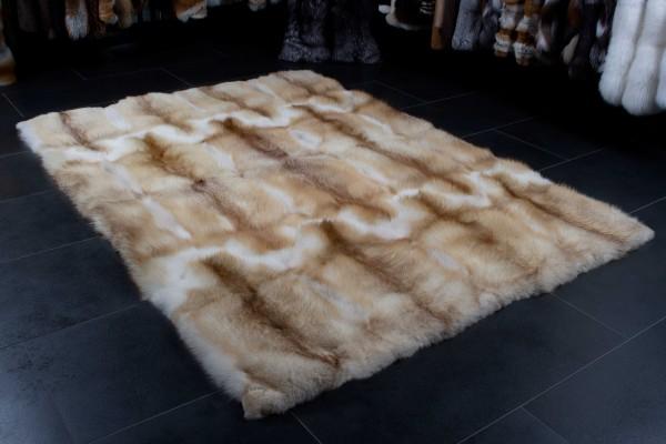 Red Fox Fur Carpet in Creme