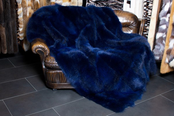 Genuine Possum Fur Throw in Ocean Blue - Wild Fur