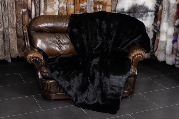 Rabbit fur blanket - long-haired in black